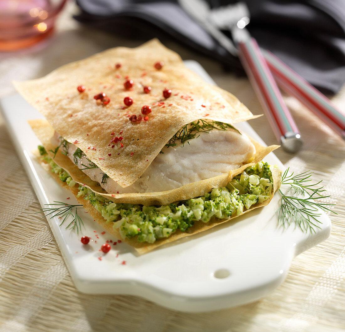 Hake and broccoli crispy layer