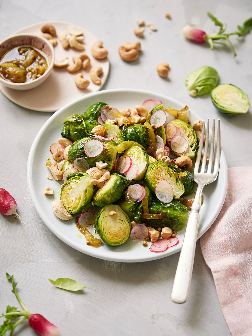 Brussels sprout,radish and cashew salad with turmeric vinaigrette