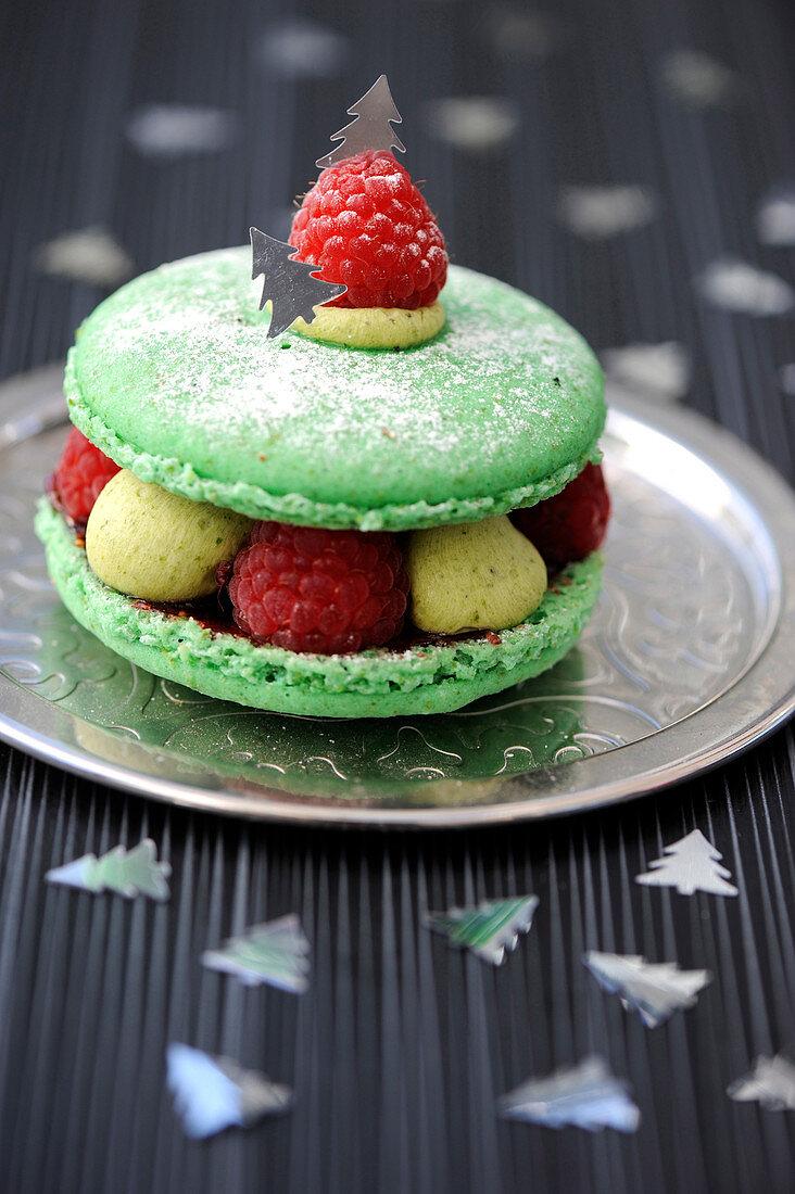 Pistachio-Raspberry Christmas Macaron