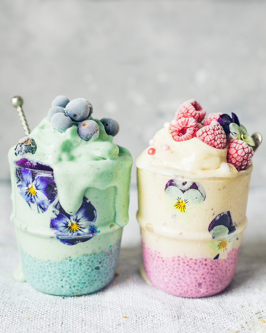 Chia seed and coconut milk dessert and blueberry,raspberry and flower iced smoothie