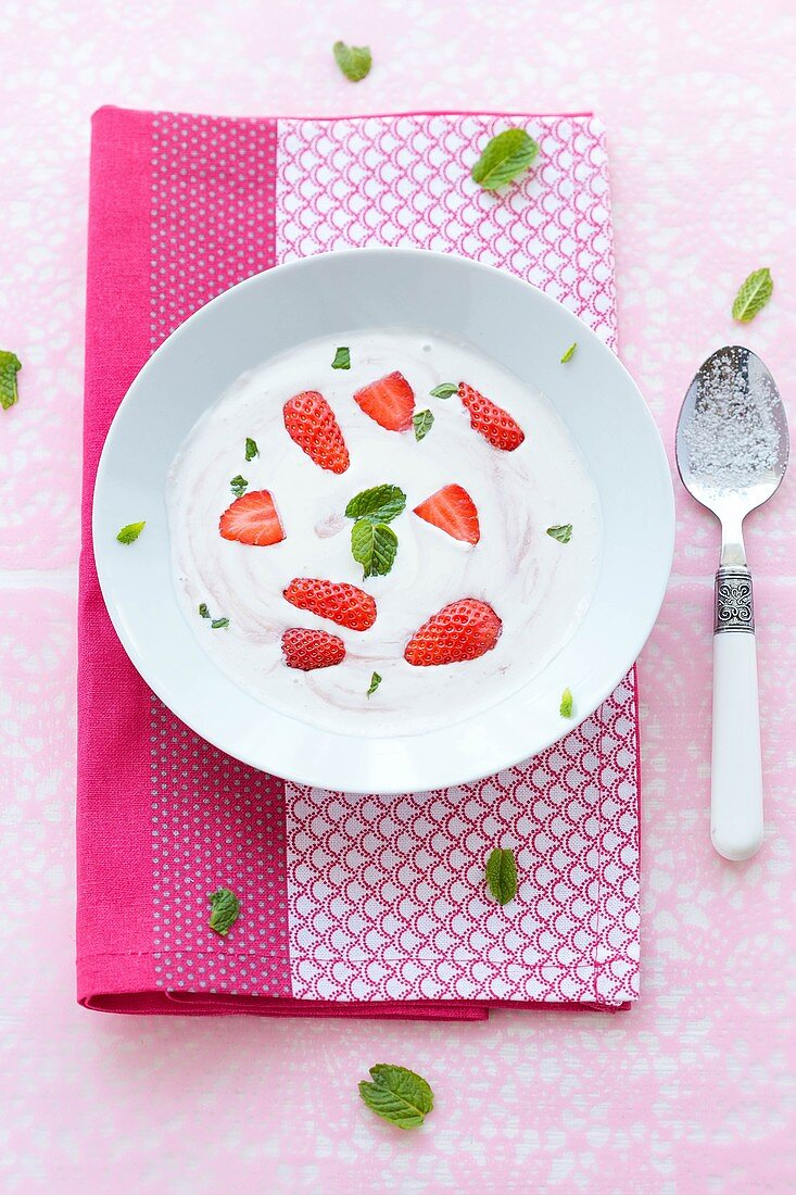 Crème fraîche and strawberry soup with fresh mint