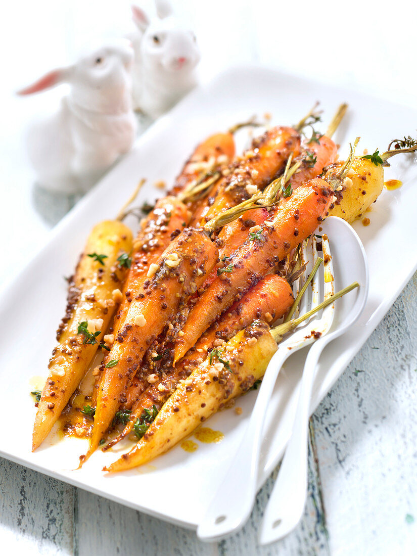 Carrots roasted with maple syrup,seedy mustard and thyme