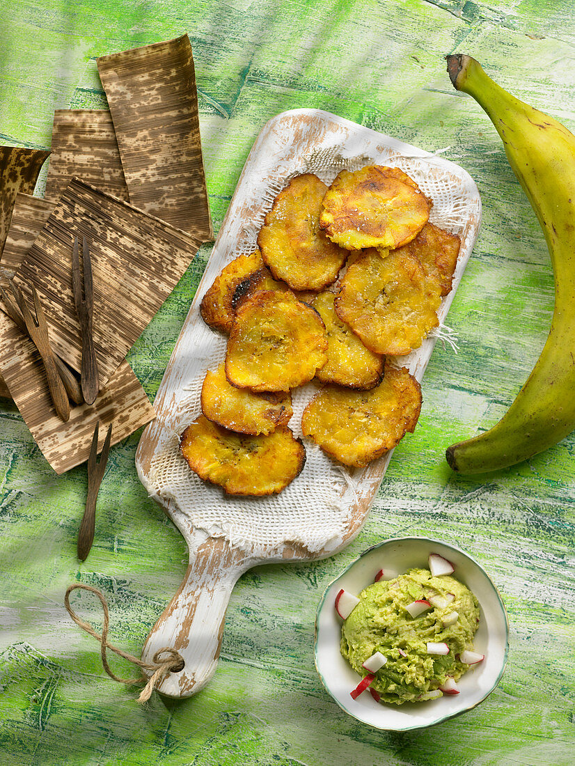 Fried banana with guacamole
