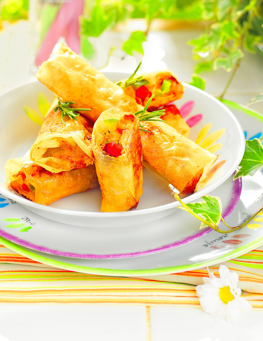 Turkish puff pastry with summer vegetables