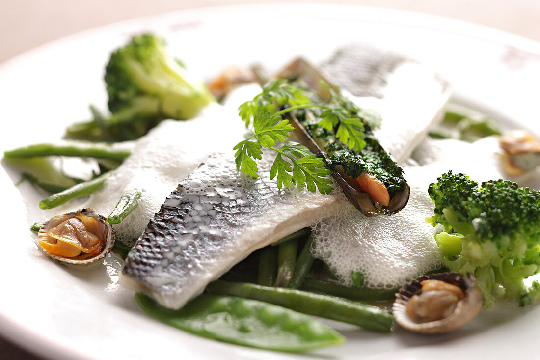 Fillet of sea bass with cockles, razor clams, beans and broccoli in emulsion
