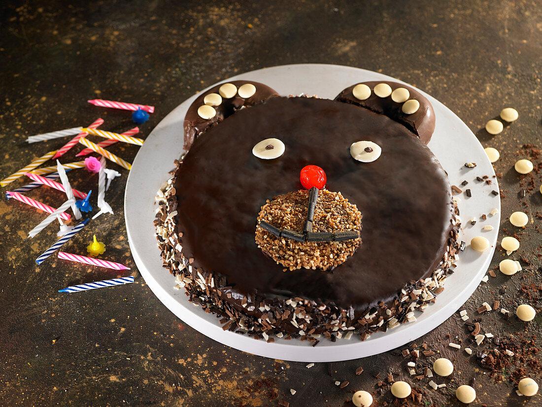 Children's bear's head Birthday cake