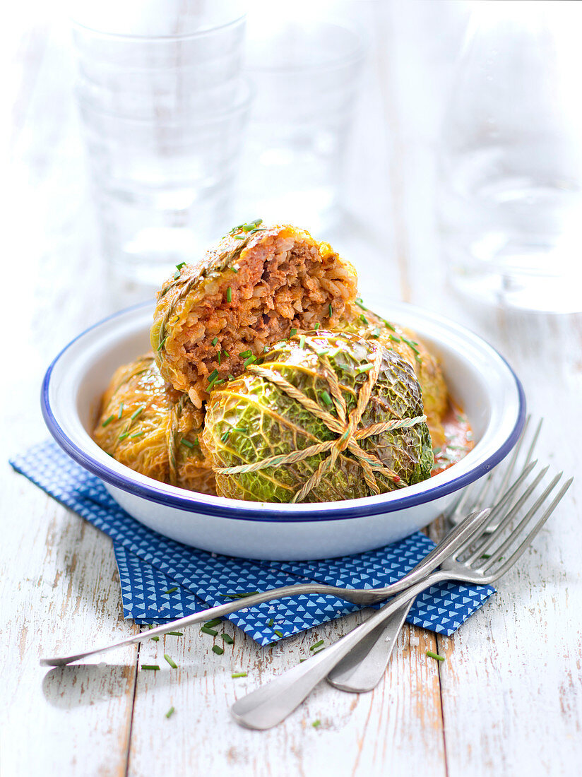 Goloubtsy,green cabbage leaves stuffed with ground pork and beef