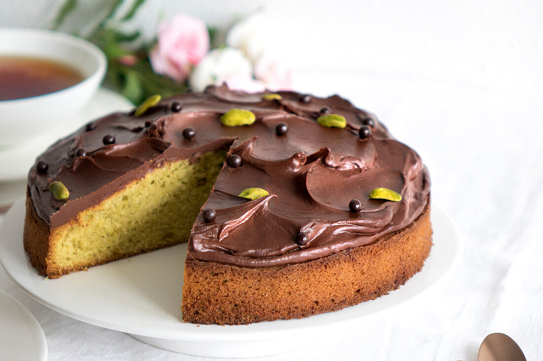 Soft Pistachio Cake With Chocolate Topping