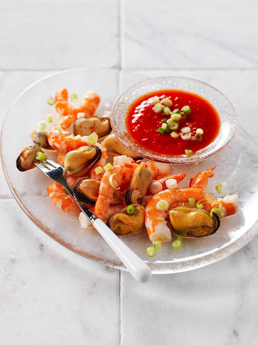 Seafood Salad With Tomato Sauce