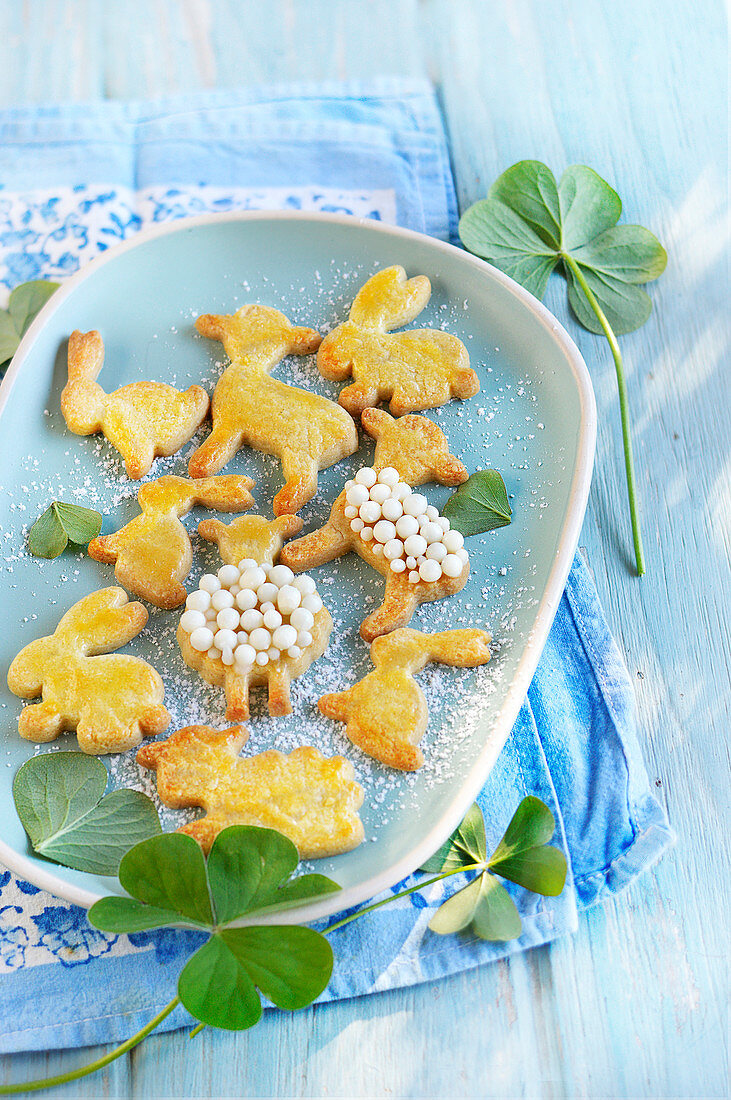 Sheep And Rabbit-Shaped Easter Biscuits