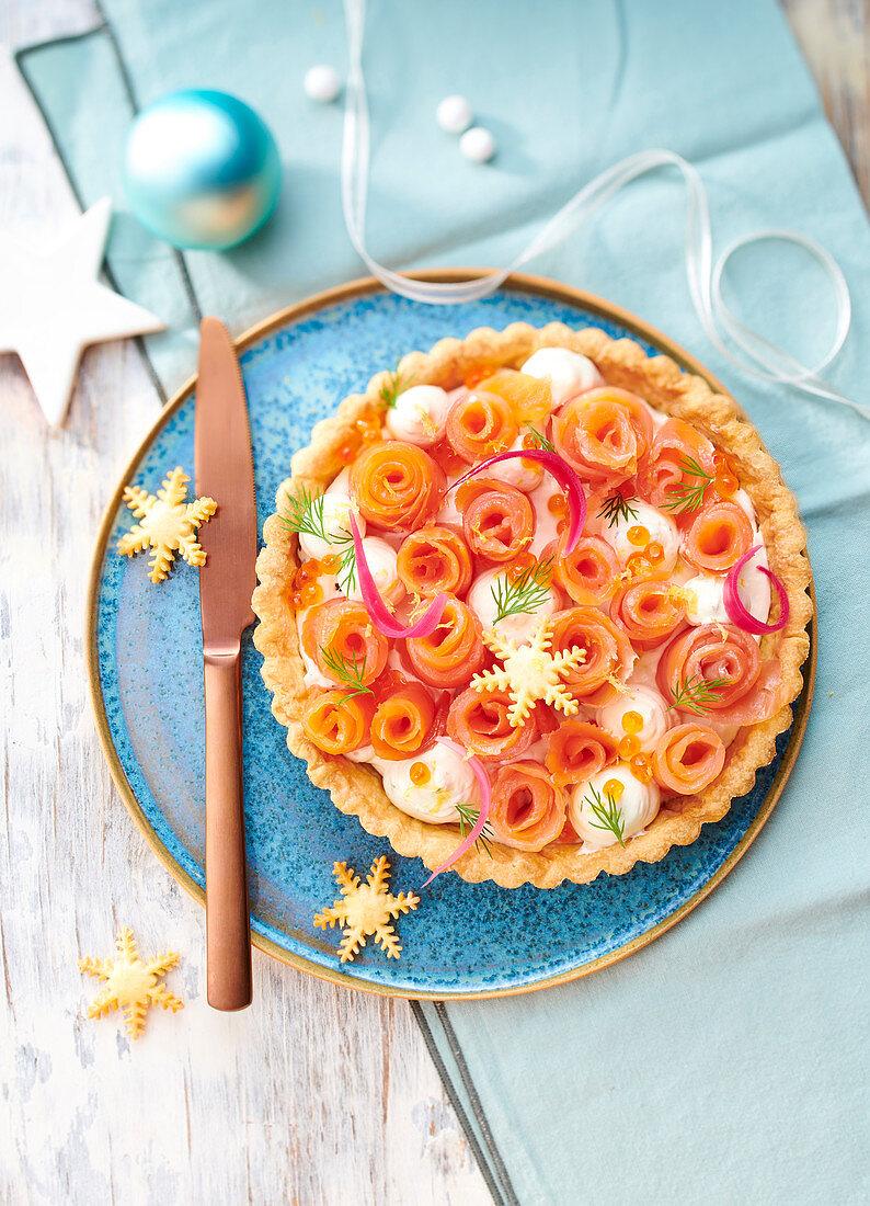 Christmas Salmon Flower Pie