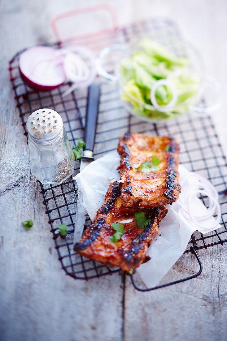 Ribs of pork a la plancha