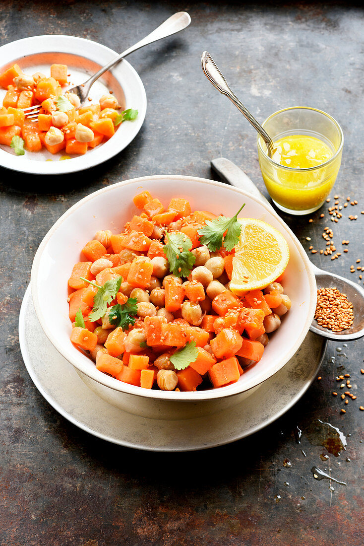 Sweet potato and chickpea salad with mustard and honey sauce