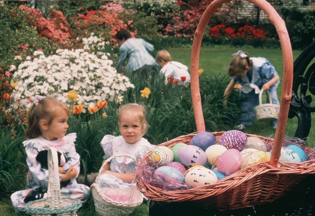Children sitting with there Easter Baskets