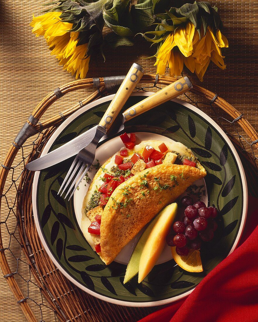 Pesto and Tomato Omelet with Fruit