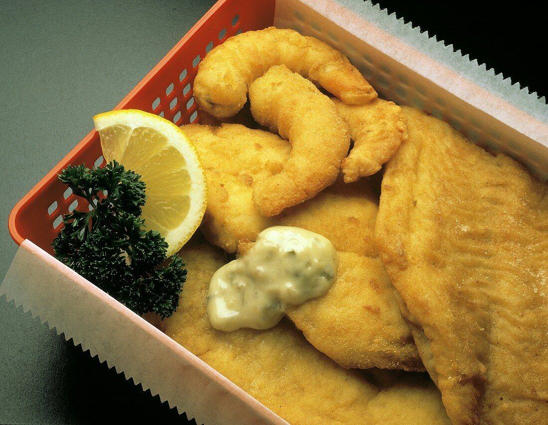Fried Fish and Shrimp with Tartar Sauce; Plastic Basket