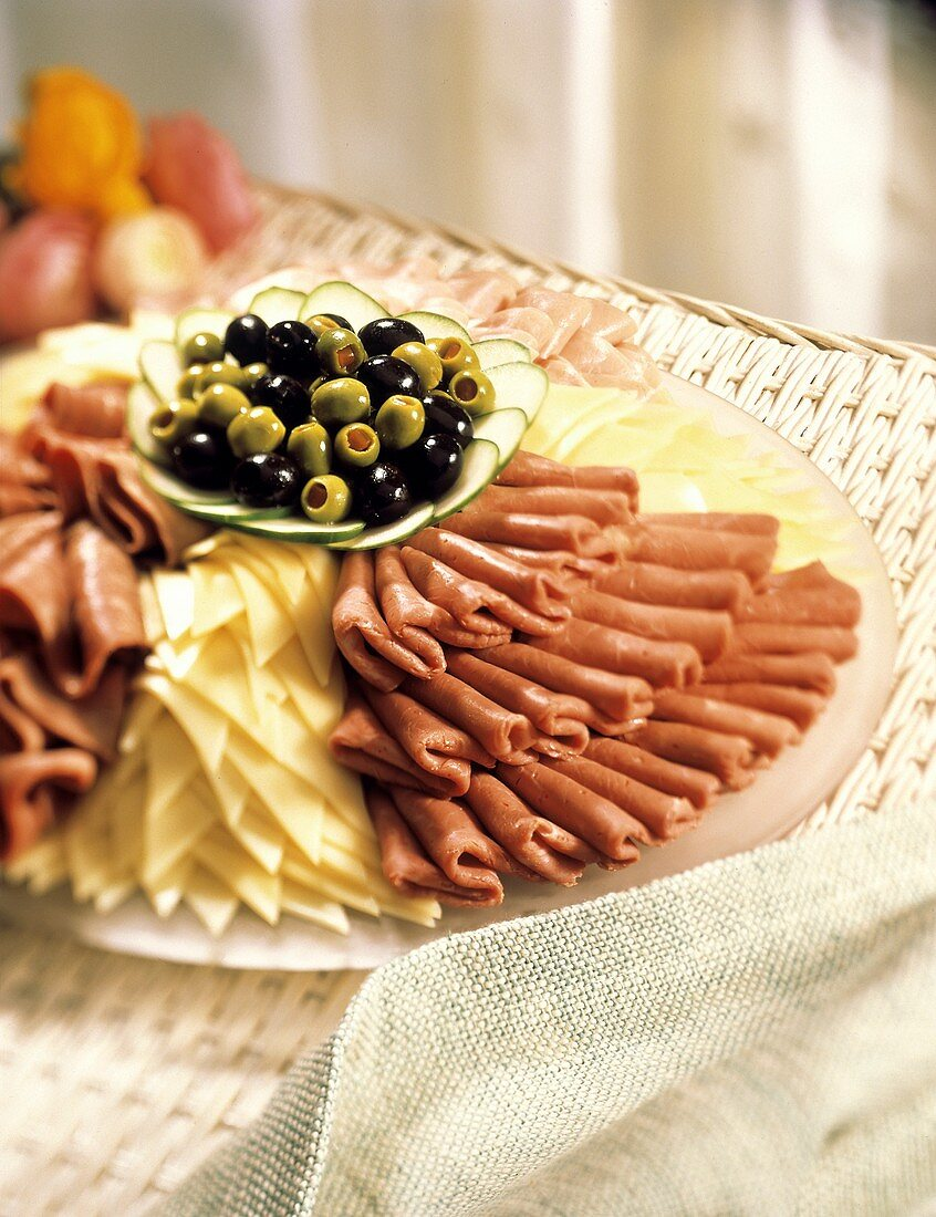 Deli Meat and Cheese Platter; Olives