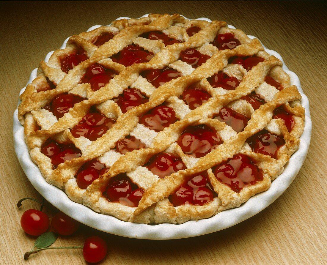 Whole Cherry Pie with Lattice Top Crust