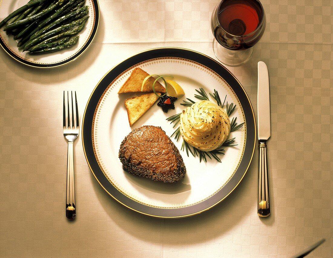 Filet Mignon with Potatoes; Asparagus