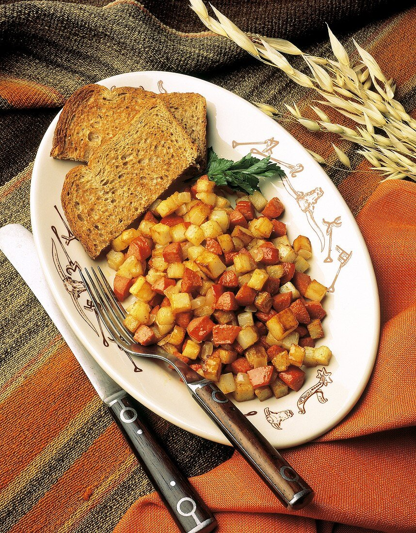 Cubed Potato and Sausage Hash
