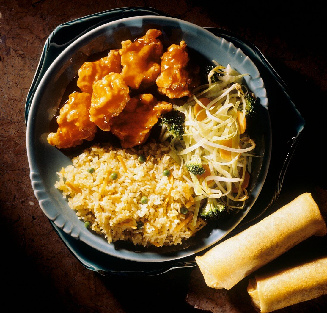General Tso Chicken and Vegetable Fried Rice