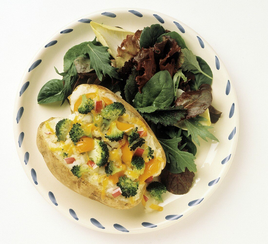 Baked Potato Stuffed with Vegetables; Side Salad