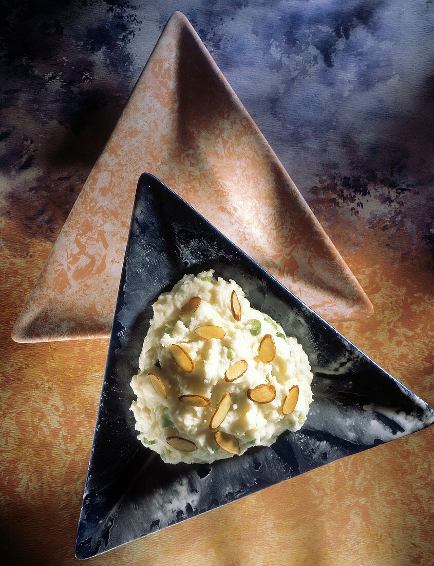 Mashed Potato with Almond Slivers; Triangular Plate