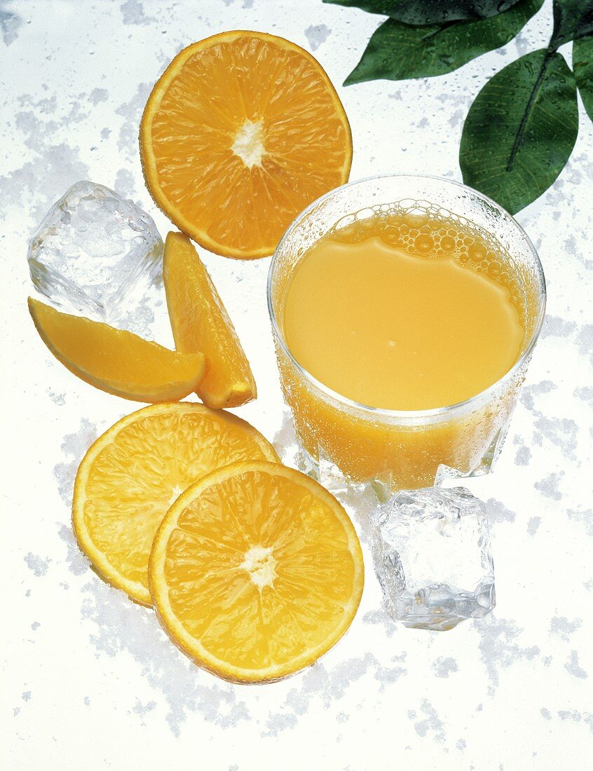 Orange Juice in a Glass with Orange Slices and Ice