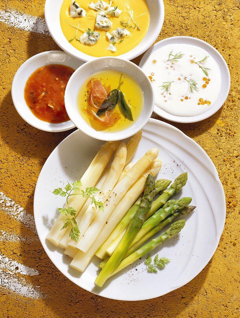 Mixed asparagus with four sauces