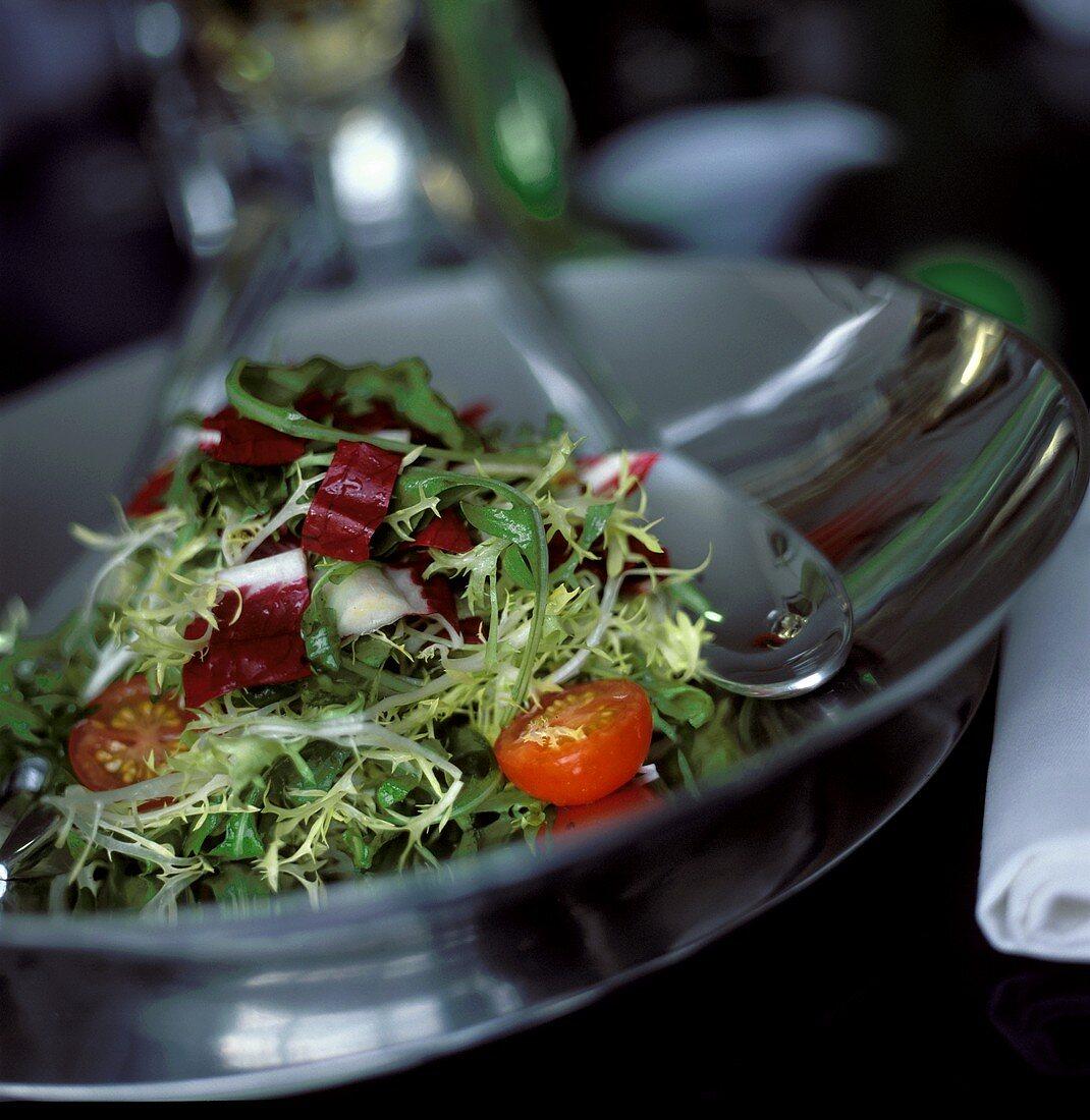 Mixed Salad in Metal Serving Bowl