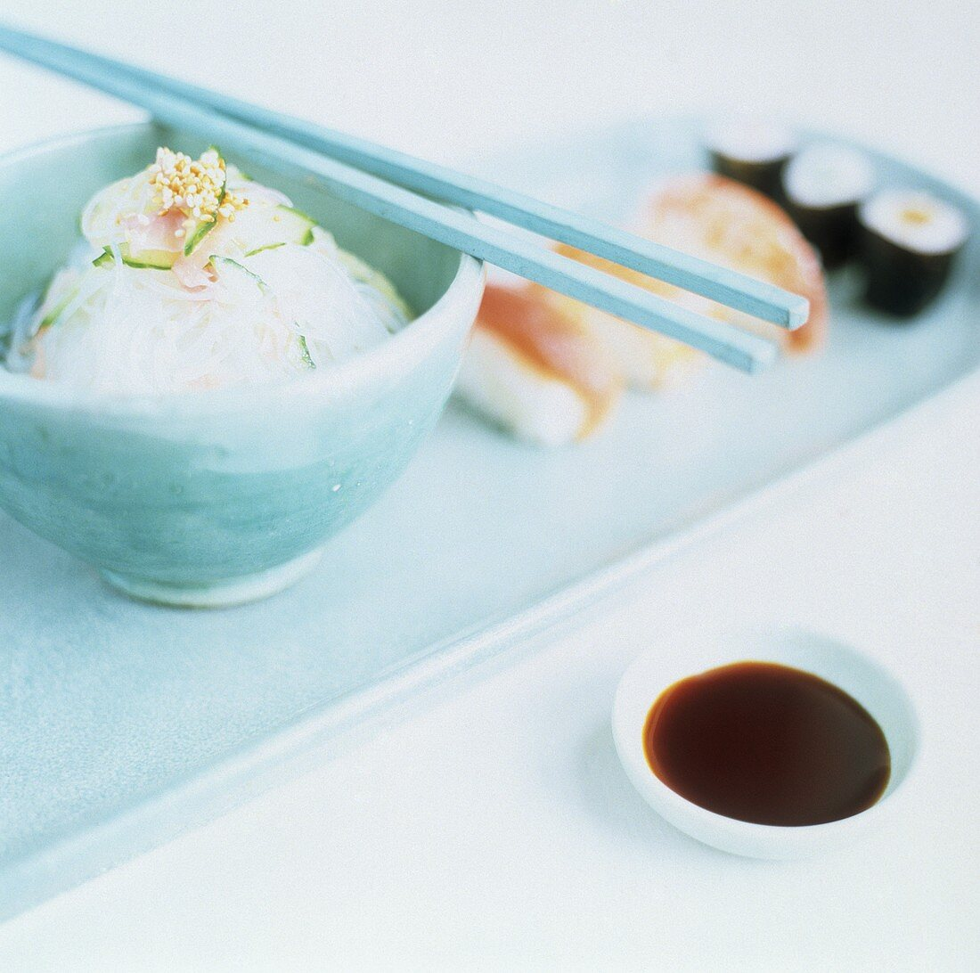 Asian Cellophane Noodles with Sushi and Dipping Sauce