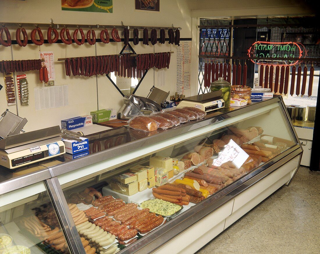 Sausage Counter in a Market