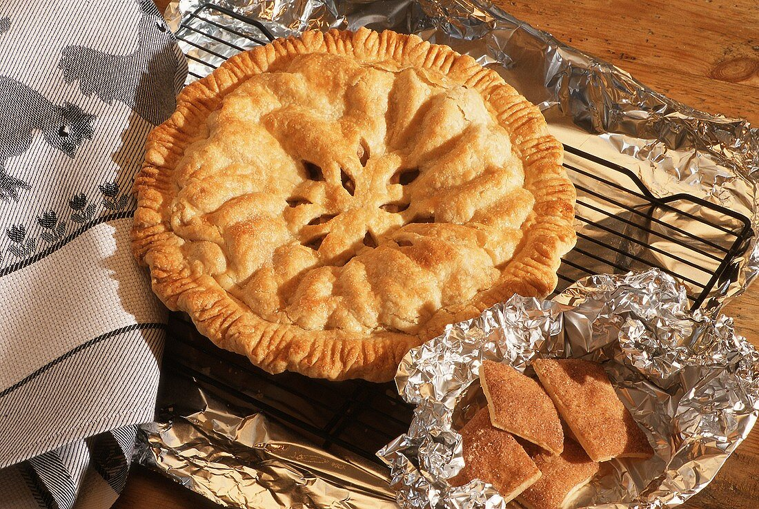 An Apple Pie on a Cooling Rack