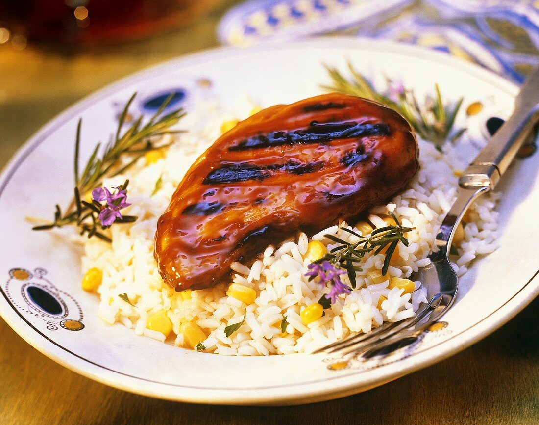 Teriyaki Glazed Chicken Breast on Rice with Corn