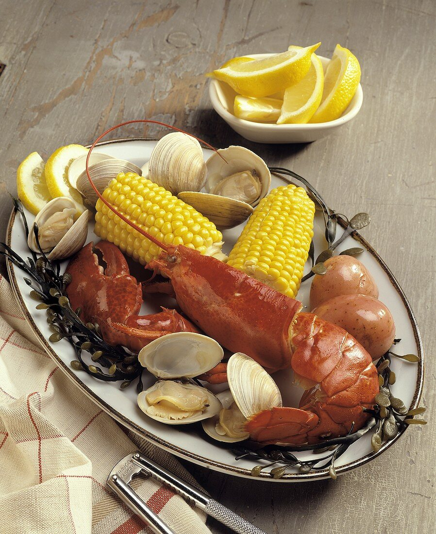 New England Clam Bake: Lobster, Steamers, Corn
