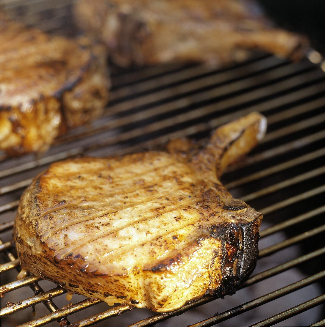 Barbeque Porkchops On Grill