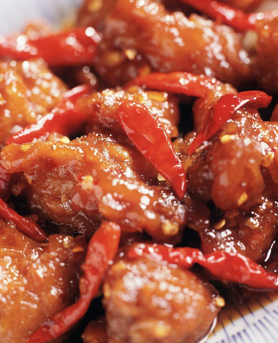 General Tso's Chicken with Red Peppers; Close-Up