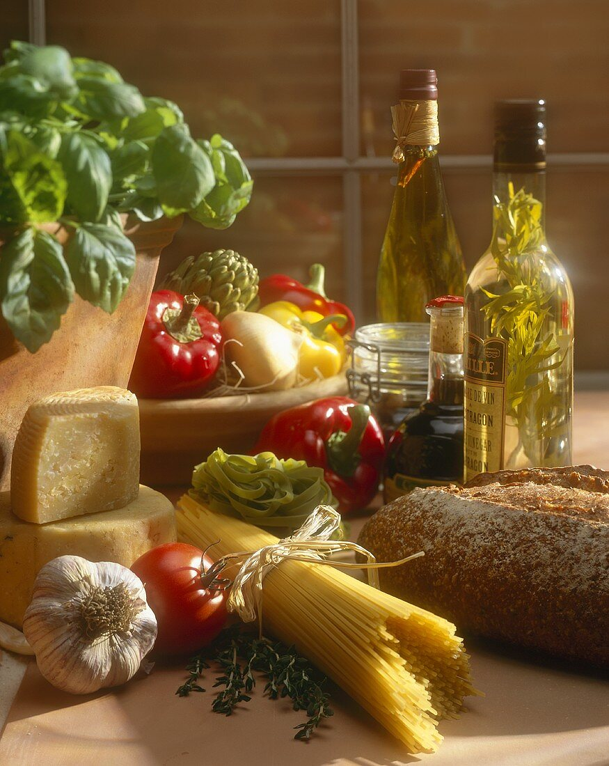Still life with Italian food and ingredients
