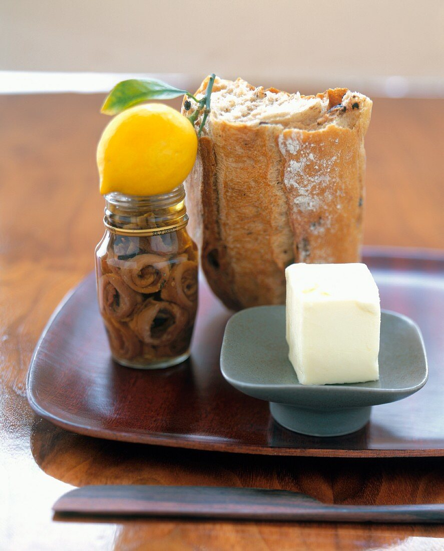 Still Life with Anchovies, Lemon, Bread and Butter