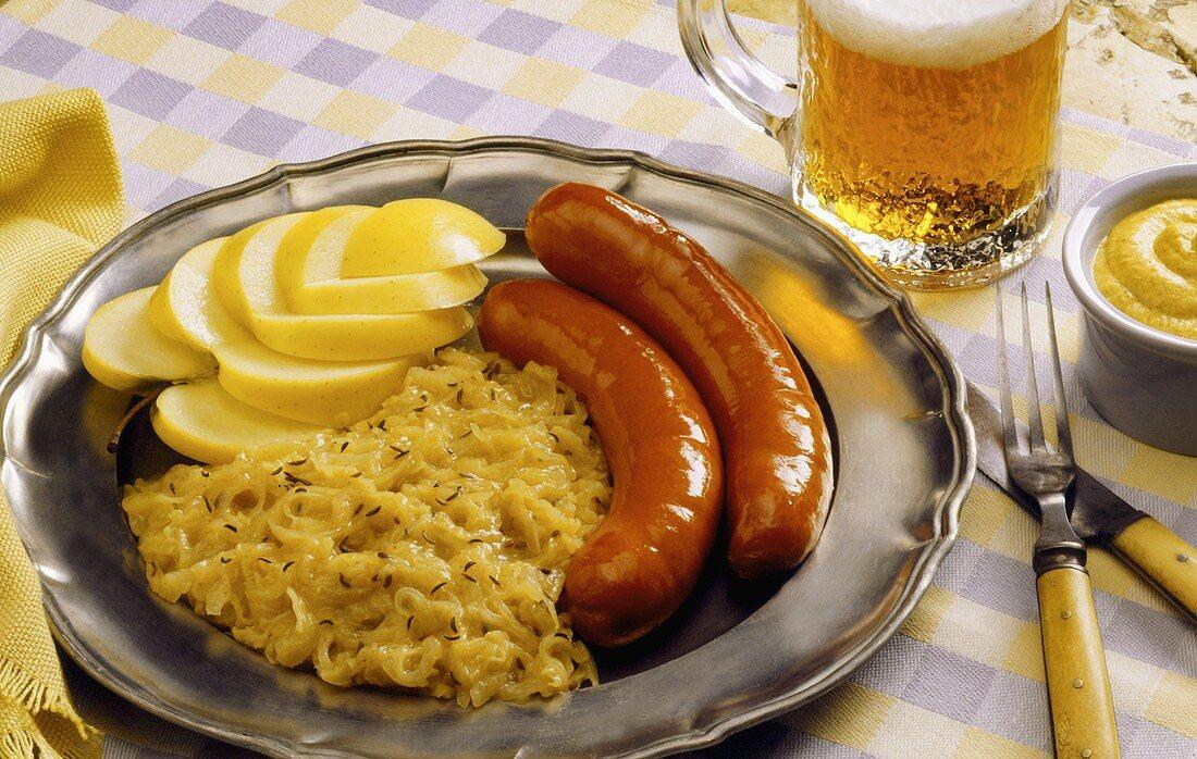 Bavarian Skillet Dinner: Sausage with Sauerkraut; Beer