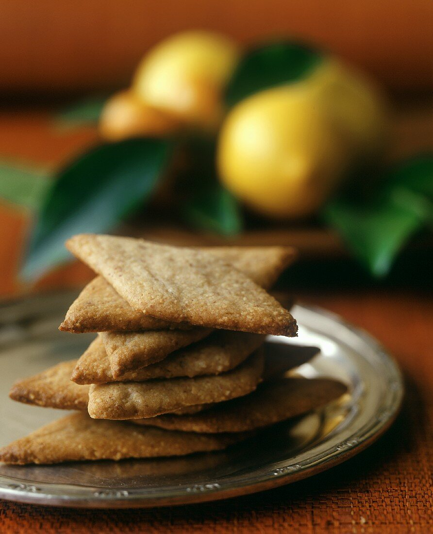 A Stack of Lemon Diamond-Shaped Cookies