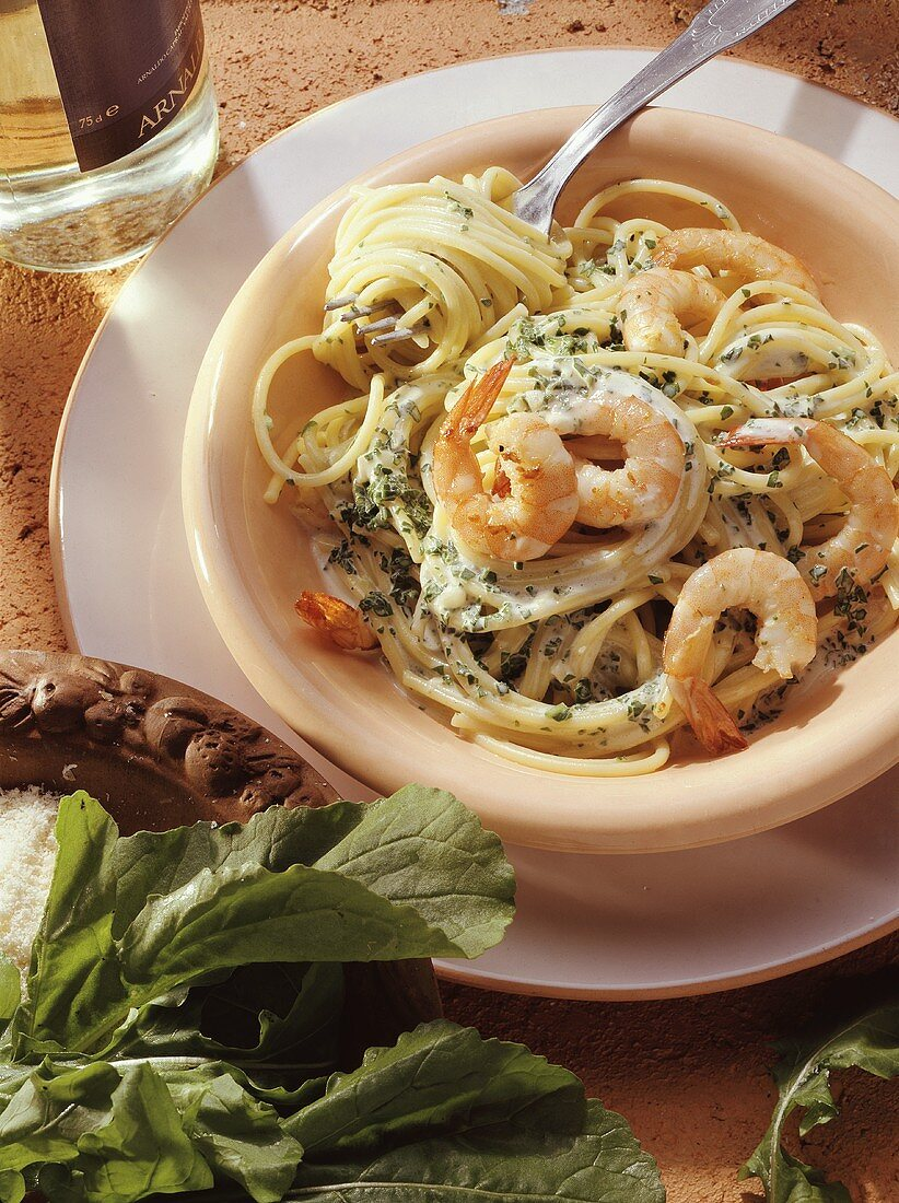 Spaghetti with Shrimp and Arugula
