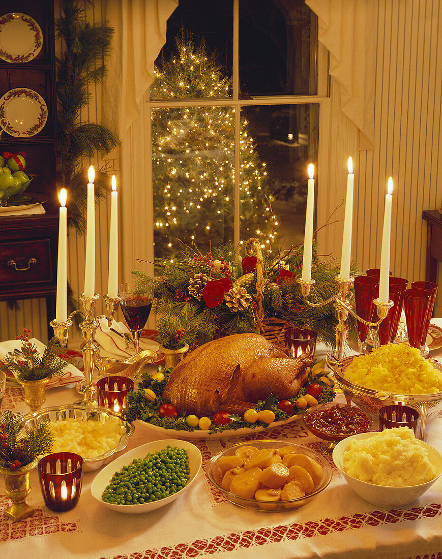 Christmas Dinner on a Table; Christmas Tree