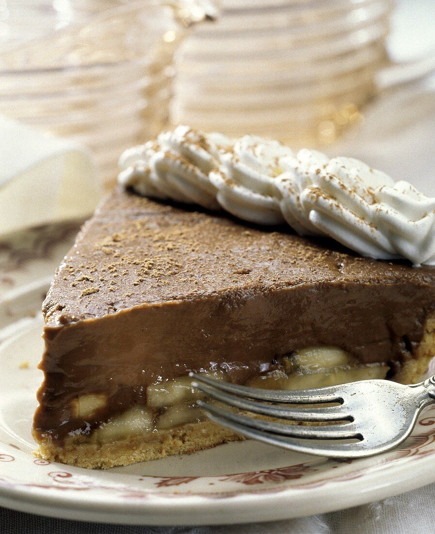 A Slice of Chocolate Banana Pie with Whipped Cream