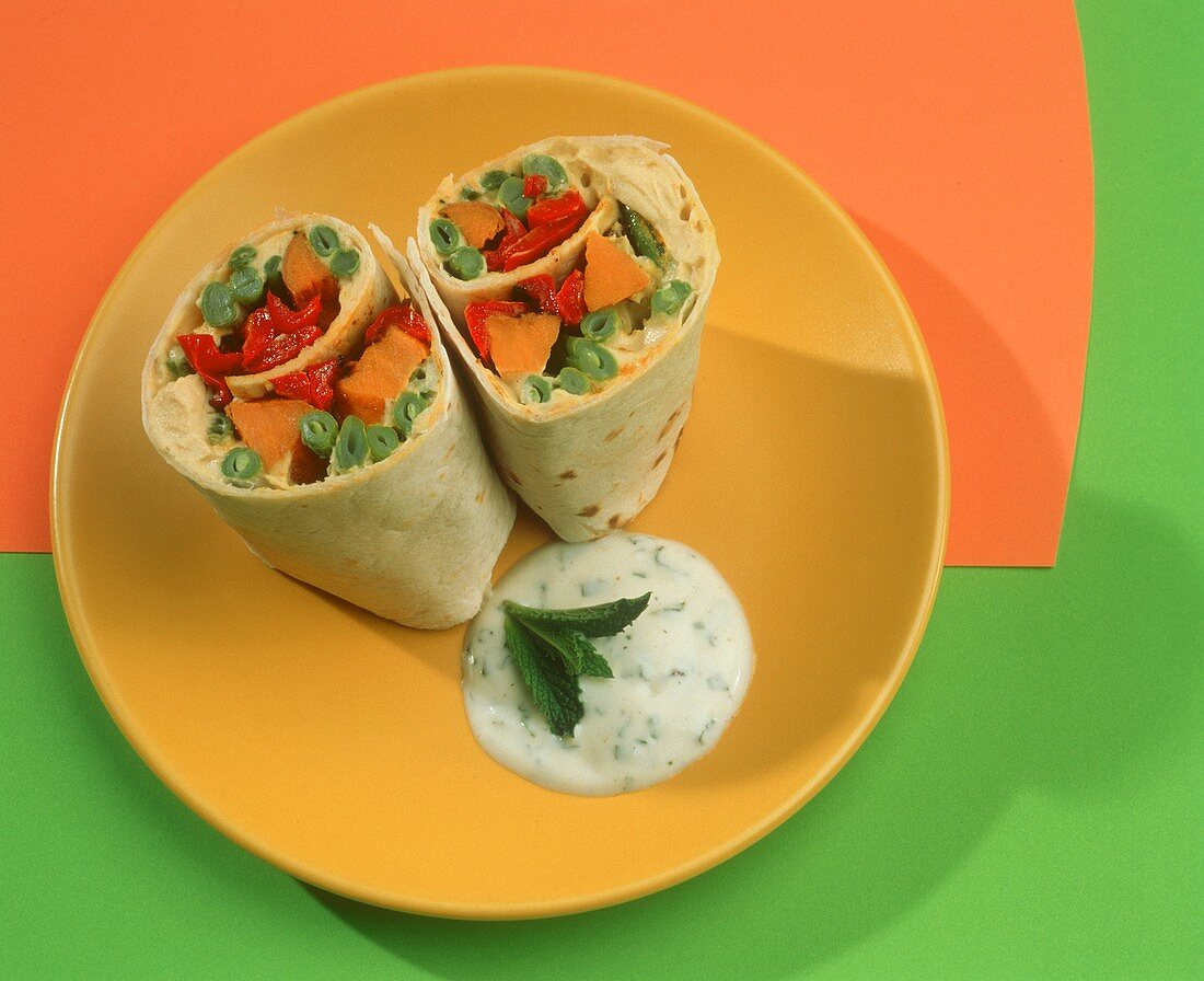 Hummus and Vegetable Roll Up; Sauce