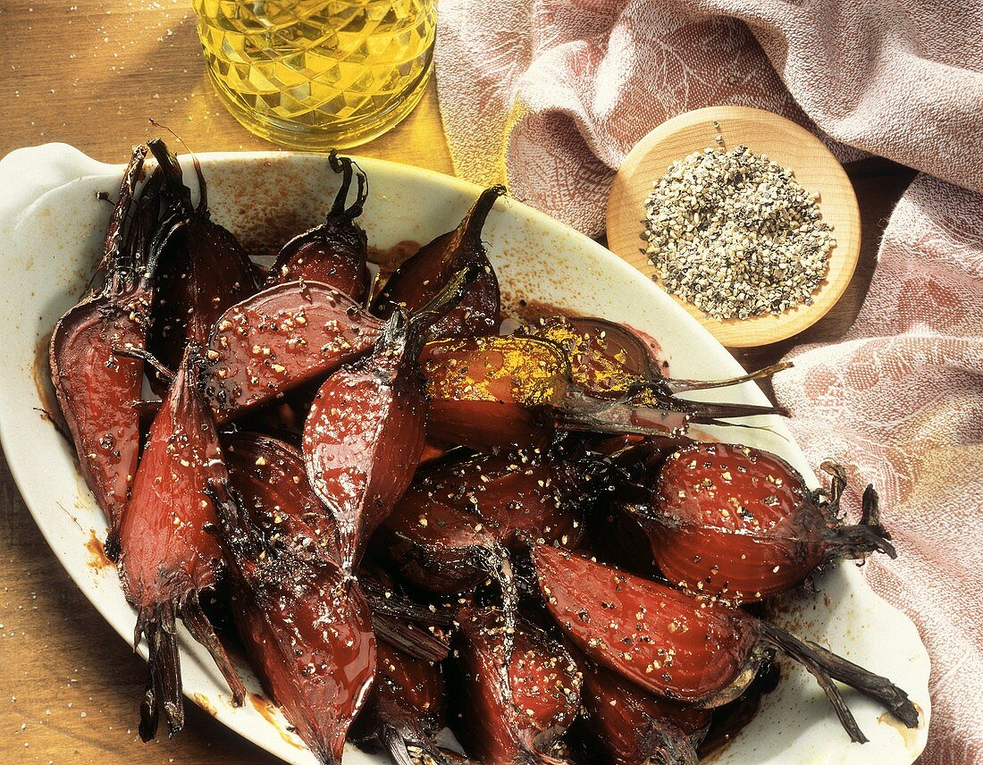Roasted Beets in Baking Dish; Olive Oil; Pepper