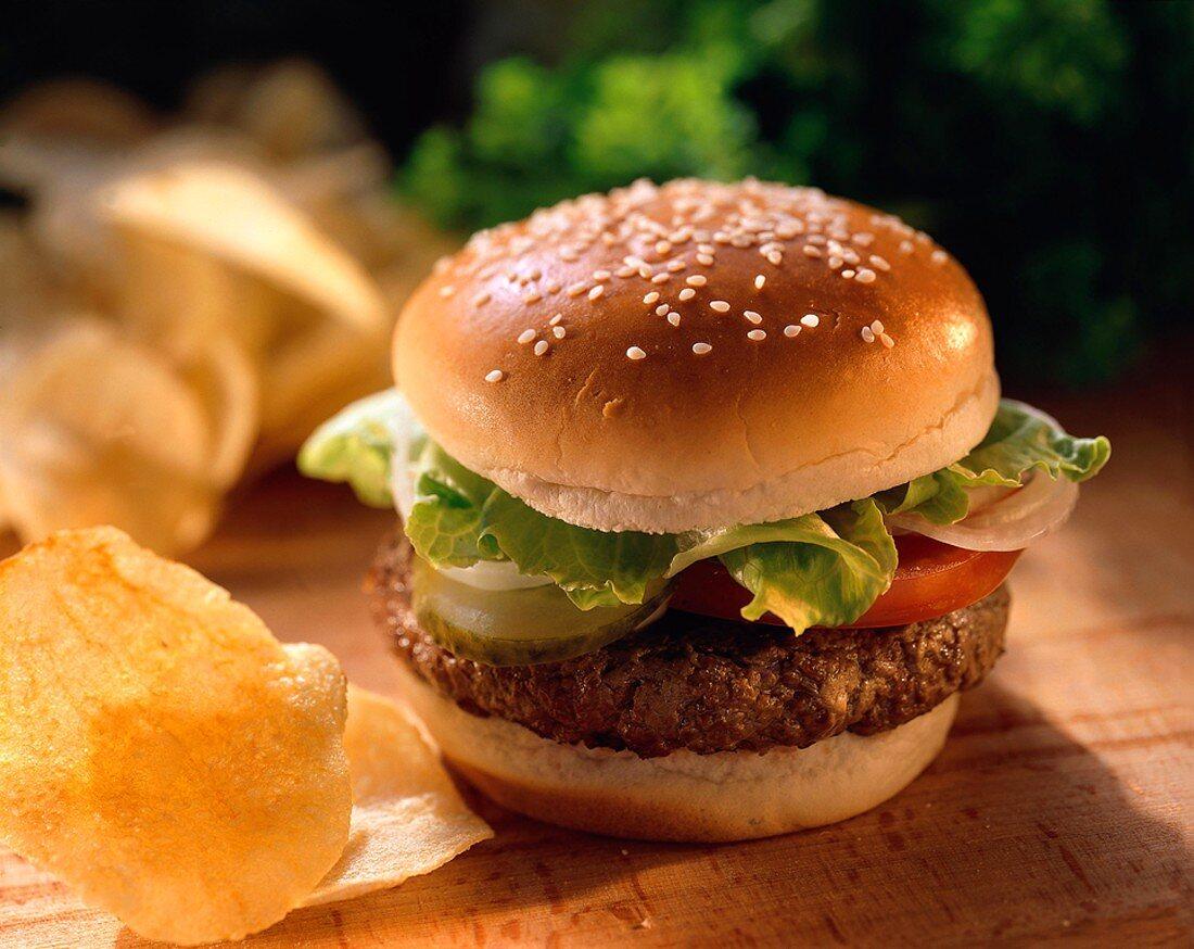 Hamburger on a Sesame Seed Bun; Potato Chips