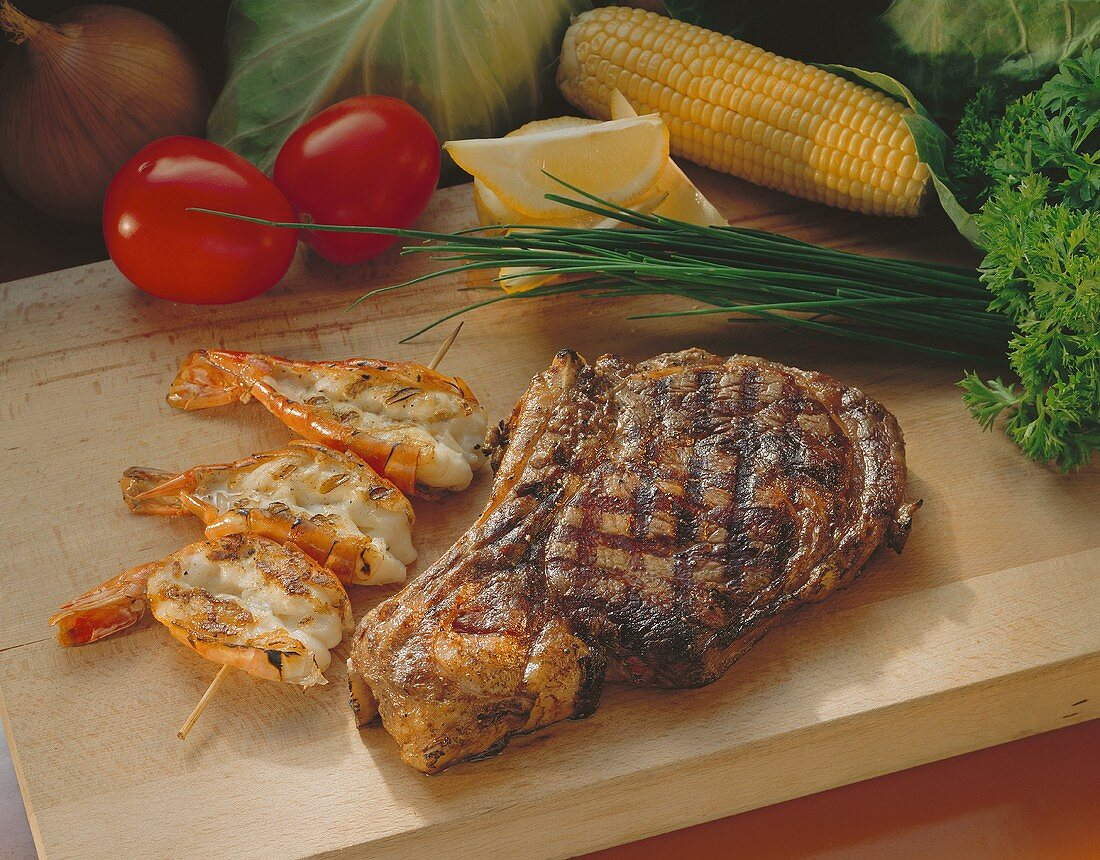 Prime Rib with Grilled Shrimp