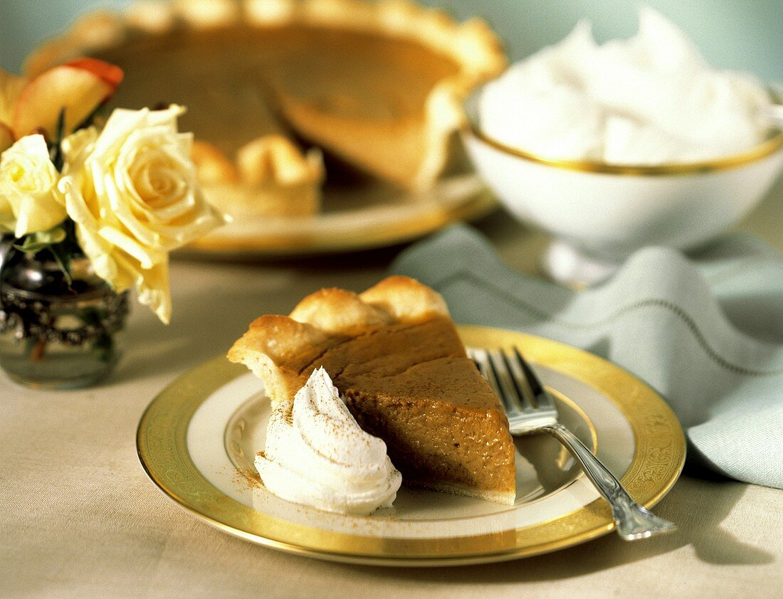 A Slice of Pumpkin Pie with Whipped Cream