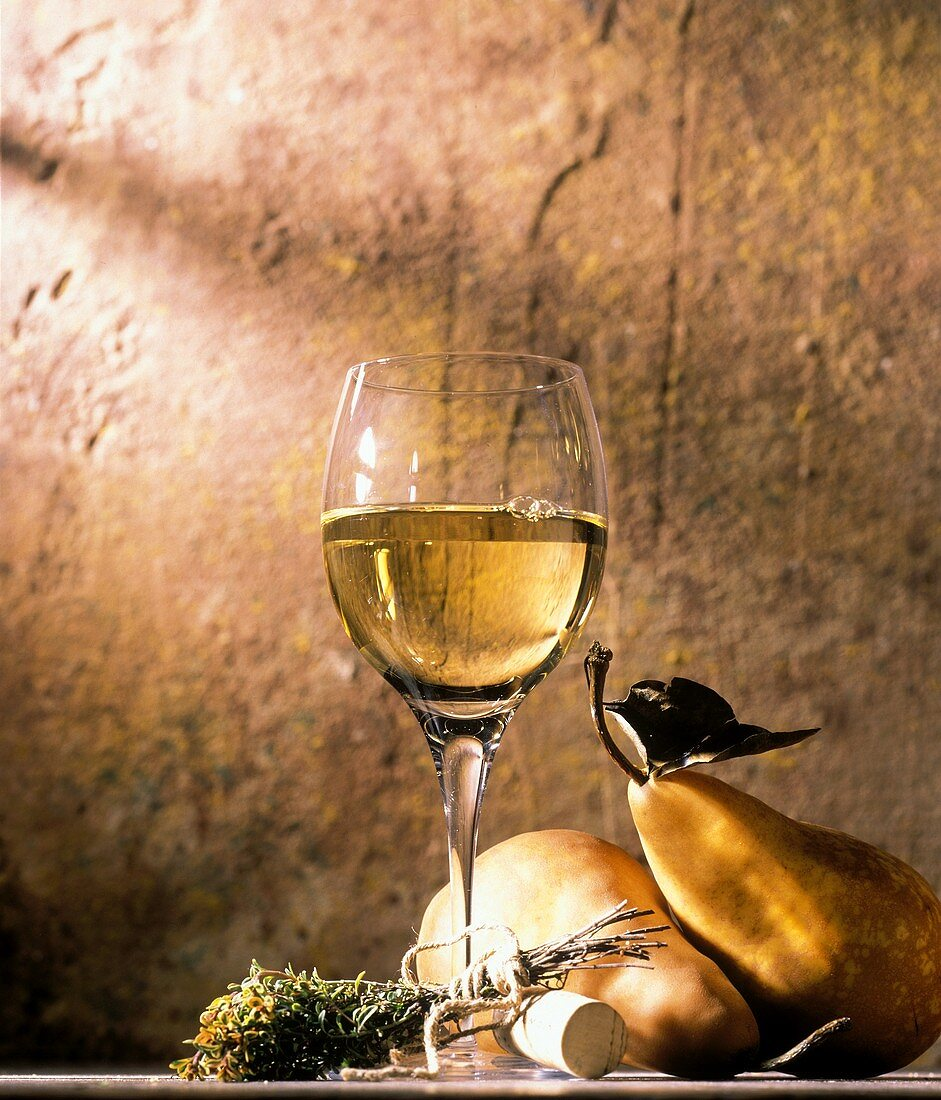 A Glass of White Wine with Pears